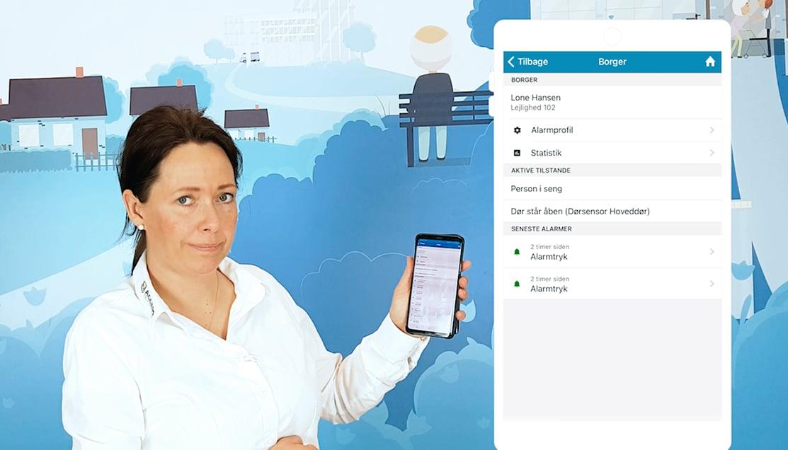 Christie fra IntelligentCARE demonstrere hvordan IntelligentCARE appen bruges